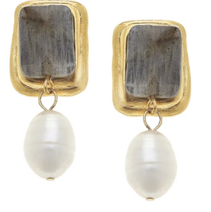 Labradorite Rectangle And Pearl Earrings