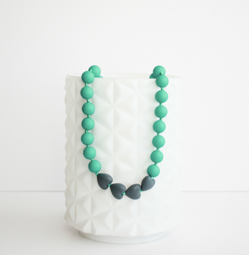 Brave Teething Necklace- Teal & Slate