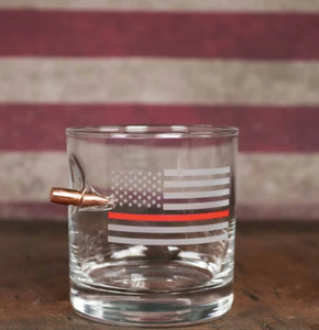 Thin Red Line Rocks Glass