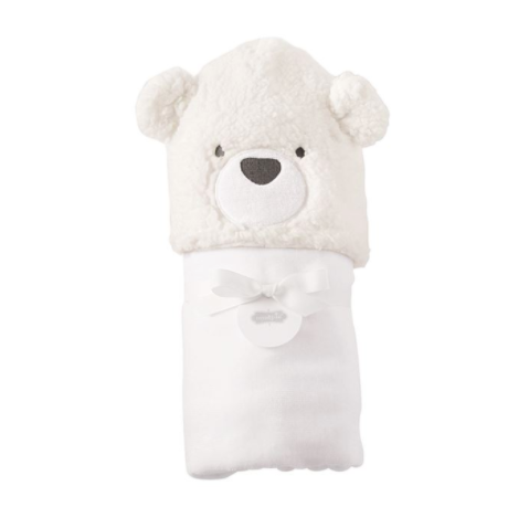 Bear Baby Hooded Towel - White