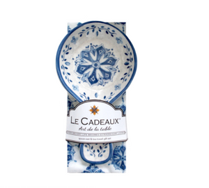Melamine Spoon Rest and Tea Towel Set - Moroccan Blue