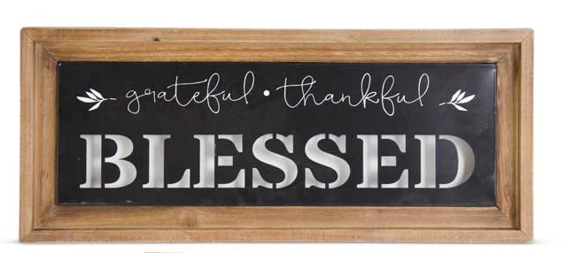 Wood Framed Metal Signs GRATEFUL-THANKFUL