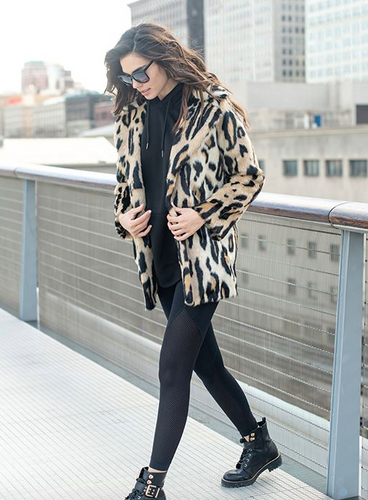 Notch Collar Coat Graphic Leopard