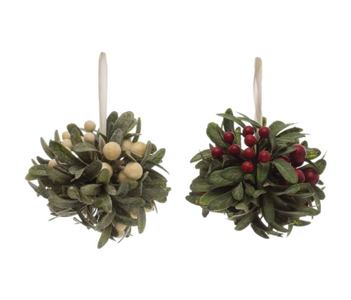 Round Faux Berry & Leaf Ball Ornament