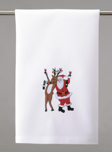 Drunk Reindeer with Santa Embroidered Tea Towel