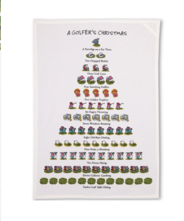 Golfer's Christmas Kitchen Towel