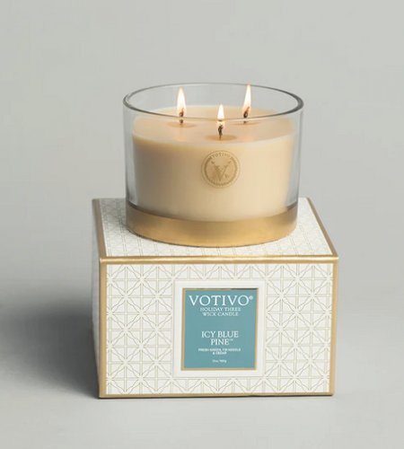 Holiday 3 Wick Candle Icy Blue Pine