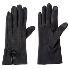 Suede Puff Gloves - Black