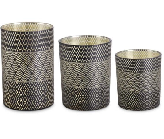 Black and Gold Art Deco Candleholders - Large