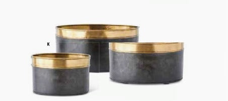 Black Metal Oval Planters with Antique Gold Rim - Large