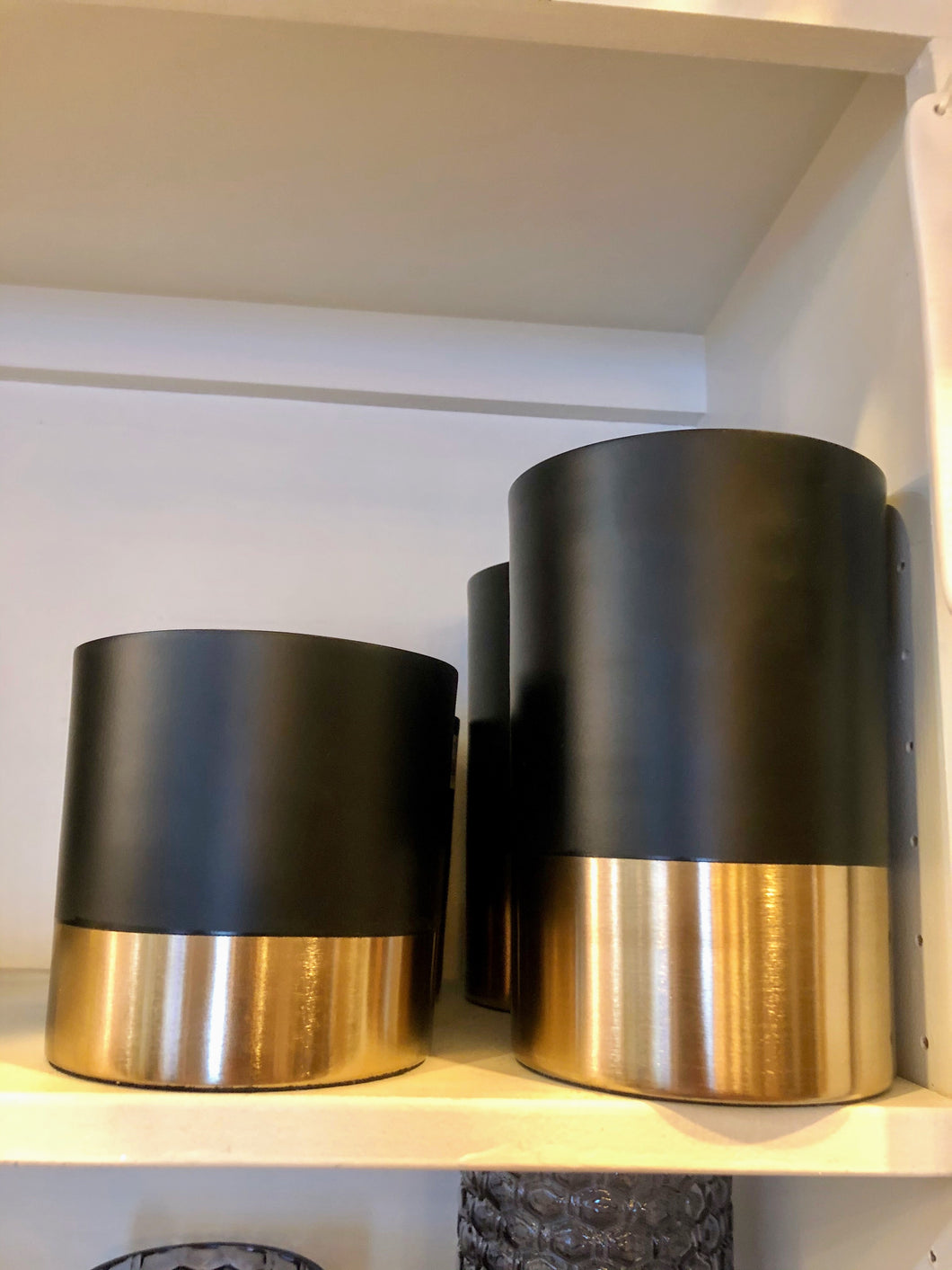 Black and Gold Round Metal Vases - Large
