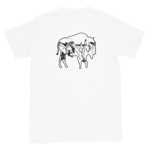 The Everyday Adventure Outdoors Voyager Logo Buffalo Roams design combines a simple sketch and landscape art. Behind our flagship Trailhead T-shirt, we like to sport this out the most. Picture yourself coming off the mountain or the trail! Size: S, M, L, XL, 2XL Style: Short Sleeve Colors: White Material: 100% Cotton