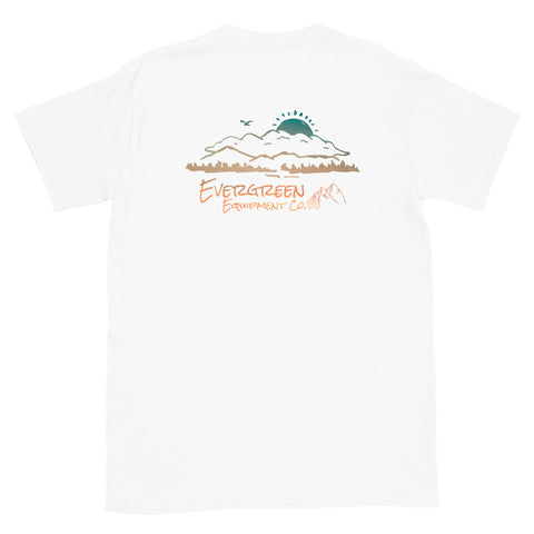 Premium everyday t-shirt. From a rocking chair daydream, we created the porch view design on our classic everyday T-Shirt. Size: S, M, L, XL Material: 100% Cotton