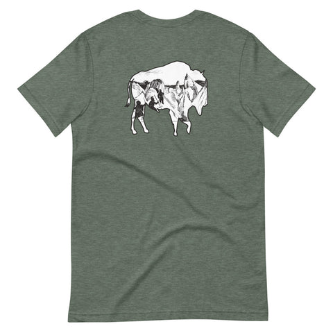 The Everyday Adventure Outdoors Voyager Logo Buffalo Roams design combines a simple sketch and landscape art. We like to wear this out the most. Picture yourself coming off the mountain or the trail! Size: S, M, L, XL, 2XL Style: Short Sleeve Colors: Forest Green and Black Material: 100% Cotton