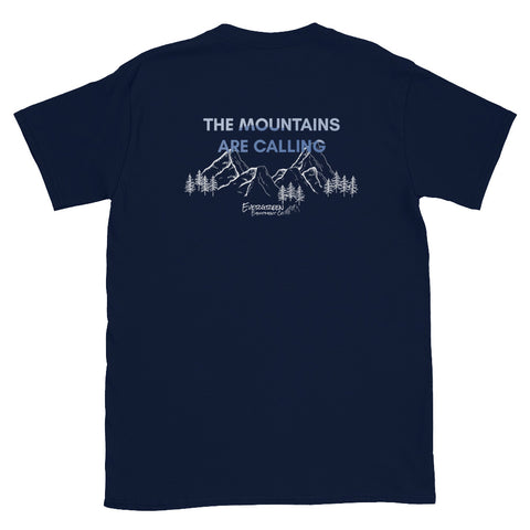 """The mountains are calling, and I must go"" - John Muir Gear up for your next road trip with the superior style and comfort of this The Mountains T-shirt from Evergreen, featuring super-soft cotton and adventure-ready design. Size: S, M, L, XL, 2XL Style: Short Sleeve Colors: Navy Material: 100% Cotton"