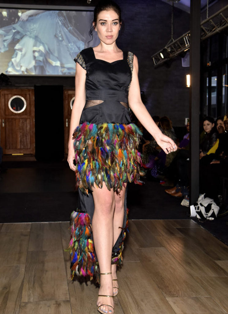 Black with multicolored feathers