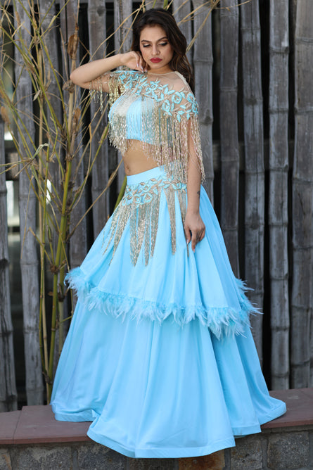 Baby Blue Rain Drop Tassels Two Piece Gown