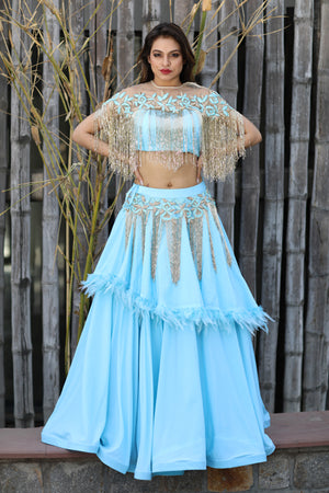 Baby Blue Rain Drop Mussels Two Piece Gown