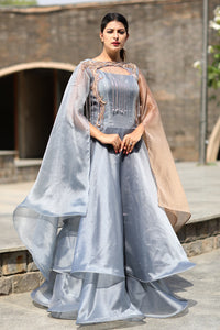 Cape Sleeves Long Layered Gown