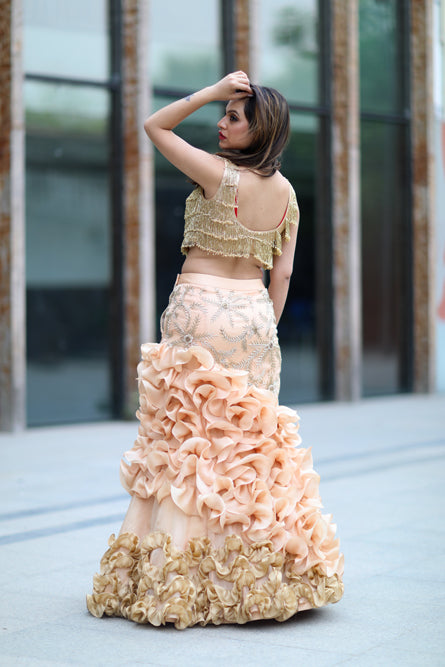 Golden And Seashell Frill Bouquet Two Peice Outfit