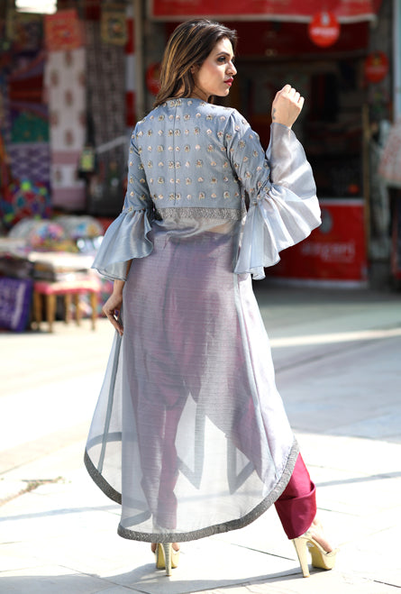 Grey Bell Sleeves Sheer Dhoti Dress