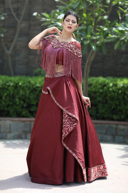 Maroon Wrap Falling Beaded Two Piece Outfit