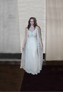 Laced Beige Bridal Gown with Pearls & Stones Embriodery NEYVA190032