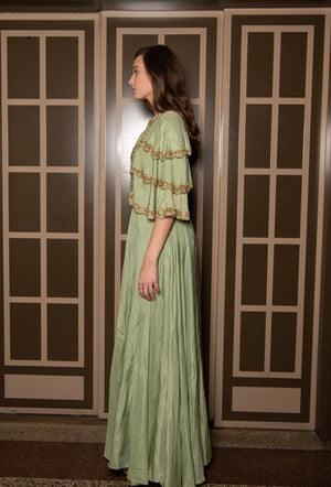 Light Green Long Dress with Layered Sleeves NEYVA190035