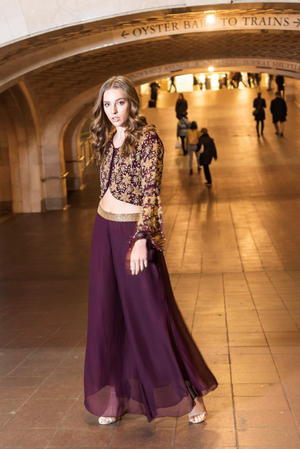 Purple two Piece Dress with Embroidery and Velvet Back Top NEYVA190020