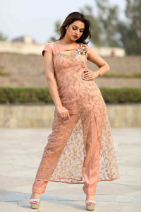 Peach Long Net Side Slit Dress