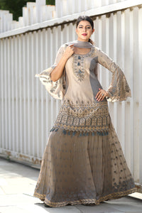 Sage Jaipur Embroidery Dress With Dupatta