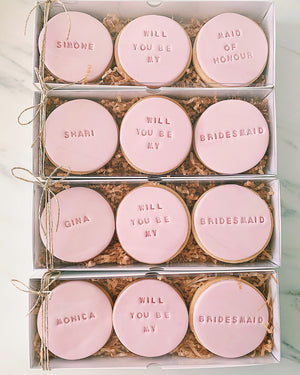 """Will you be my Maid of Honor"" cookies"