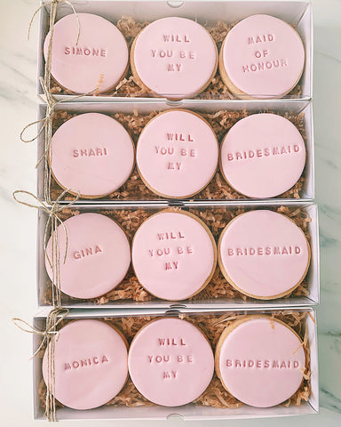 """Will you be my bridesmaid"" cookies"