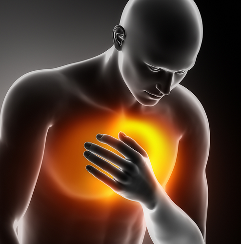 Man having chest pain grabbing chest which can be tested at www.youhealth.shop