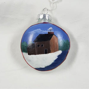 Holiday Ornament, handpainted glass