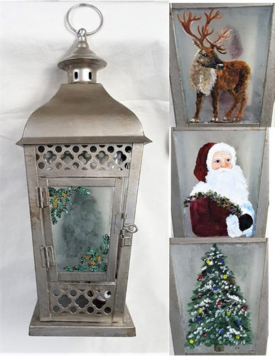 Holiday Lantern, handpainted - BLIZZARD OF SAVINGS!