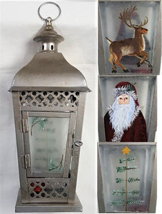 Holiday Lantern, handpainted - CLEARANCE