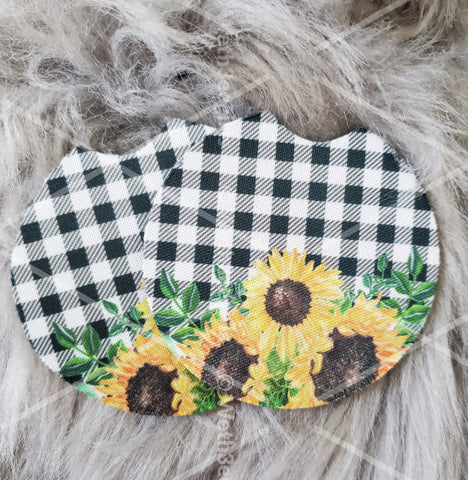 Made To Order, White and Black Plaid, Sunflowers, Cute Gift, Inspired, Neoprene Car Coaster, 2 pack