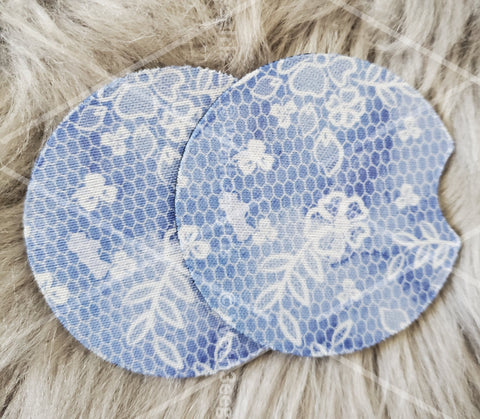 Blue, Lace, Flowers, Cute Gift, Inspired, Neoprene Car Coaster, 2 pack (mtocoaster080)