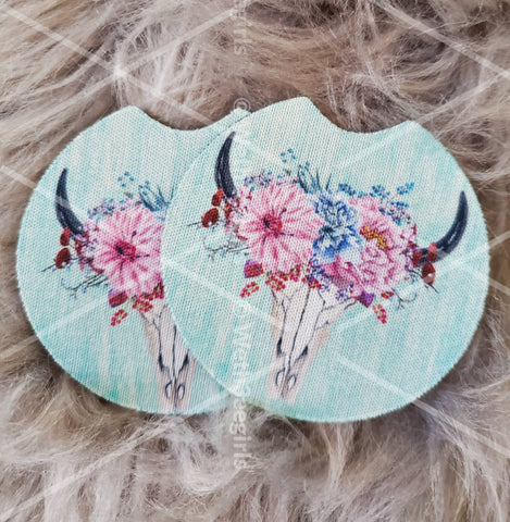 Boho, Blue, Skull, Cow, Buffalo, Flowers Cute Gift, Inspired, Neoprene Car Coaster, 2 pack (mtocoaster099)