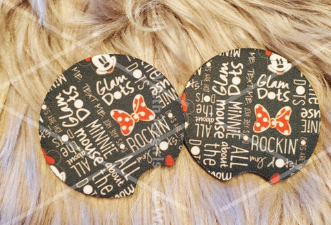 Made To Order, Minnie Glam Dots, Neoprene Car Coaster, 2 pack (MTOcoasterminnieglam)