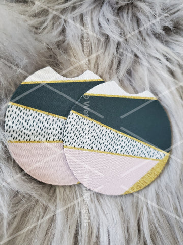 Pink Gold Black Geometrical, Cute Gift, Inspired, Neoprene Car Coaster, 2 pack (mtocoaster204)