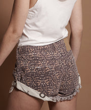 ONETEASPOON Azteca Leopard Bandit Denim Short