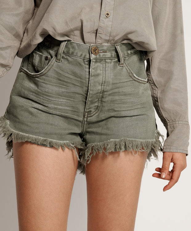 ONETEASPOON Le Wolves Mid Length Denim Short