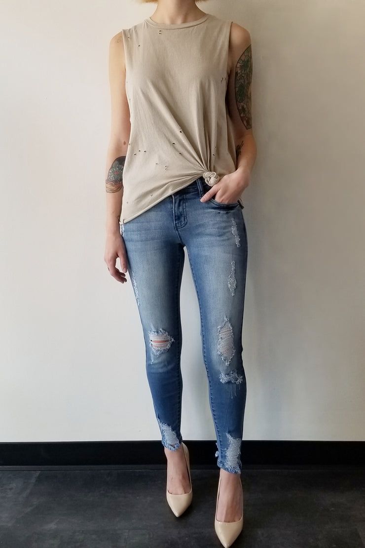 MICHELLE BY COMUNE Pelham Distressed Tank