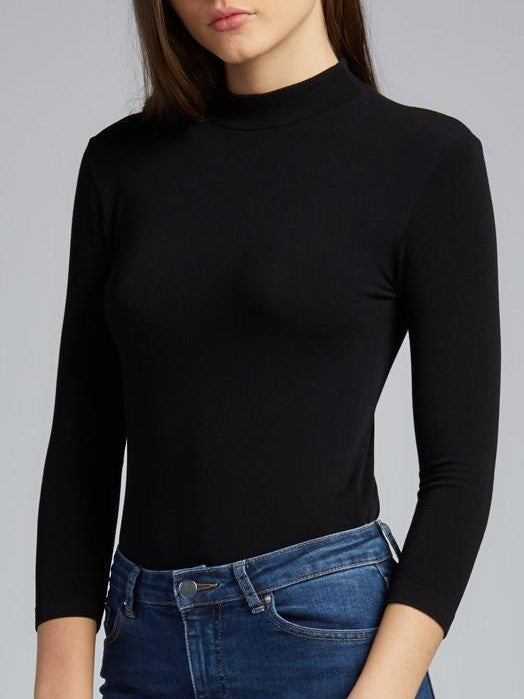 C'EST MOI 3/4 Sleeve Mock Neck Top