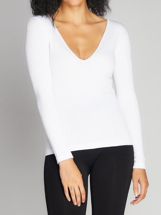 C'EST MOI Seamless Rib Deep V Neck Top