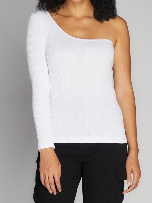 C'EST MOI Seamless Rib One Shoulder Top