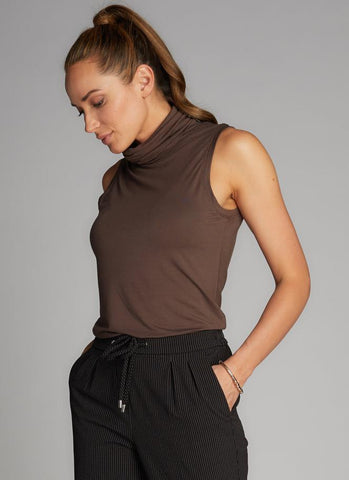 C'EST MOI Bamboo Sleeveless Turtle Neck Top