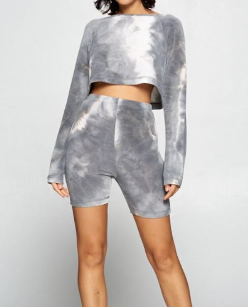 27 Tie Dye Cropped Pullover & Bike Short Set